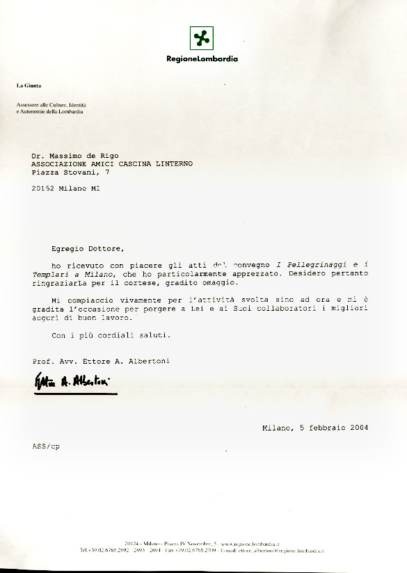 lettera di apprezzamento dell'Assessore alla Cultura della Regione Lombardia (2004)