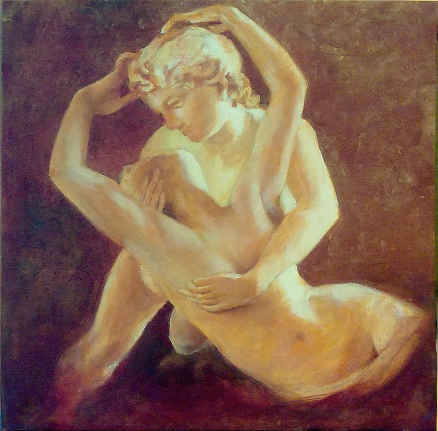 Amore e Psiche, libera interpretazione da Canova. Acrilico su tela (2012)