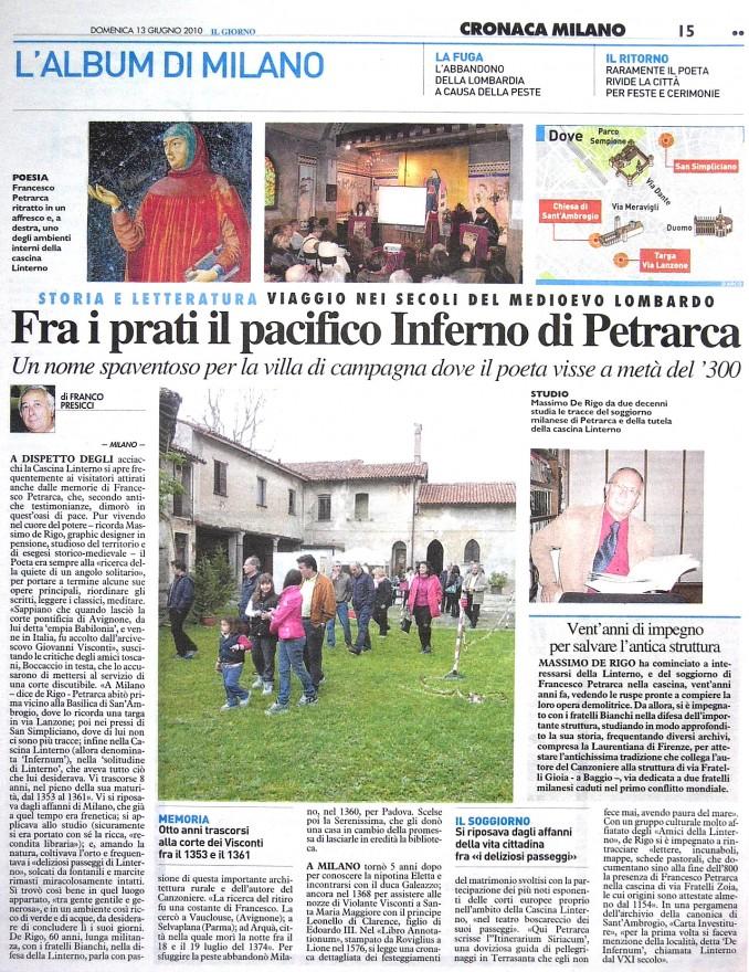 Intervista sulla Solitudine di Linterno di Petrarca. Il Giorno, 13 giugno 2010