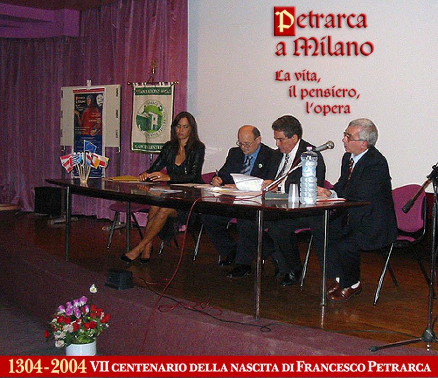 L'attrice Iuliana Iuregan, Gianni Bianchi, Enzo Percesepe e Roberto Gariboldi al Convegno 'Petrarca a Milano' (2004)