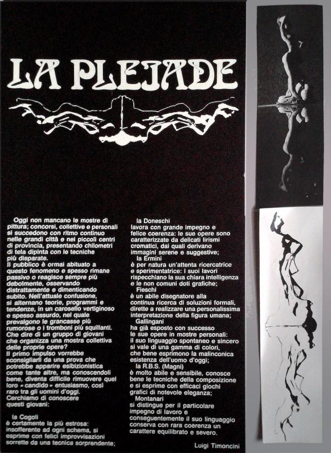 Locandina Mostra 'La Pleiade'. Grafica manuale (1970)