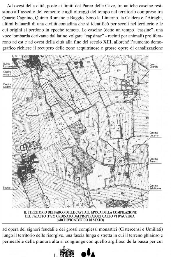 Territorio del Parco delle Cave all'epoca della compilazione del Catasto Teresiano (1722)