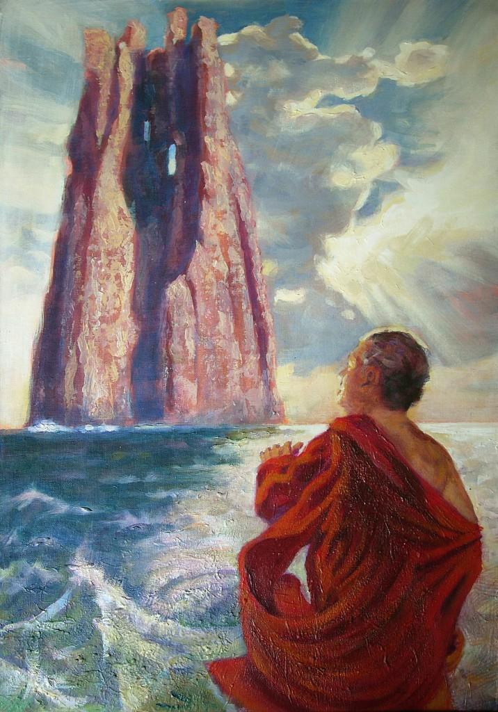 Ulisse e la Montagna del Purgatorio. Acrilico su tela (2010)