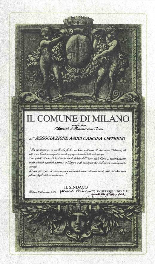 Attestato di Benemerenza Civica dell'Ambrogino d'Oro all'Associazione Amici Cascina Linterno