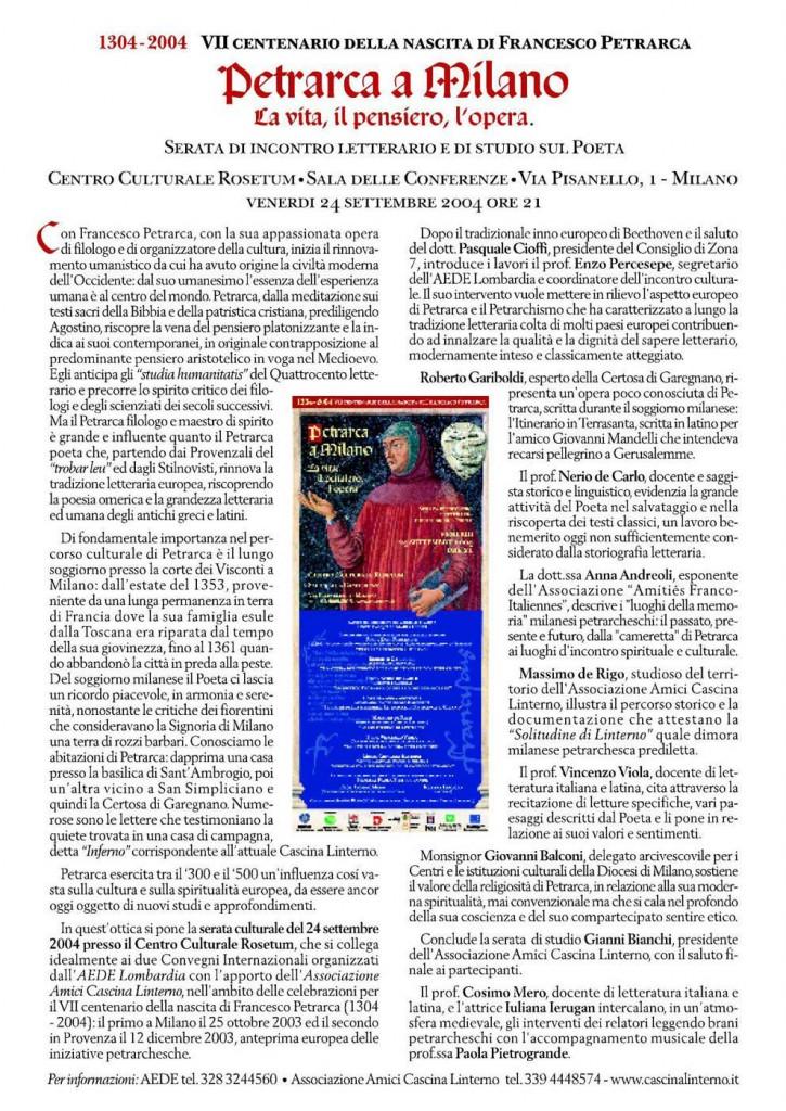 Comunicato stampa del Convegno 'Petrarca a Milano' (2004)