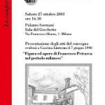 locandina presentazione atti del Convegno 'Figura ed oper di Francesco Petrarca nel periodo mlanese' (2001)