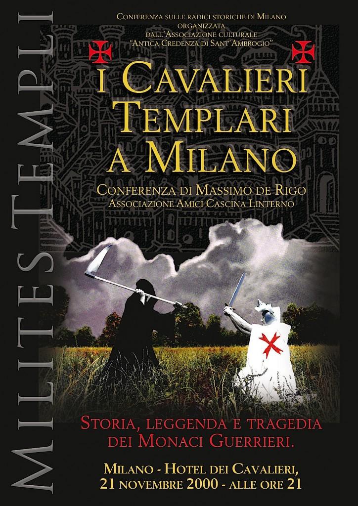 """Locandina conferenza """"I cavalieri Templari a Milano."""" (foto di Renato Bosoni)"""