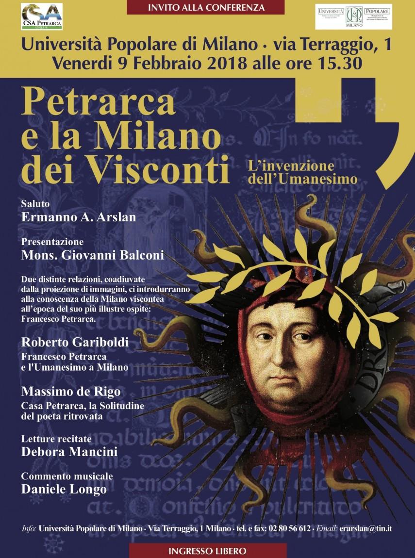 Poster conferenza 'Petrarca e la Milano dei Visconti) Università Popolare (2018)