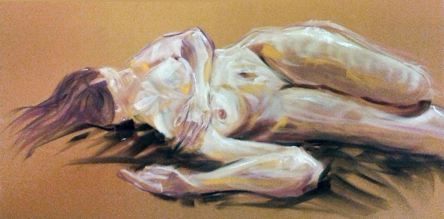 Nudo sdraiato. Tecnica mista su cartoncino (2017)