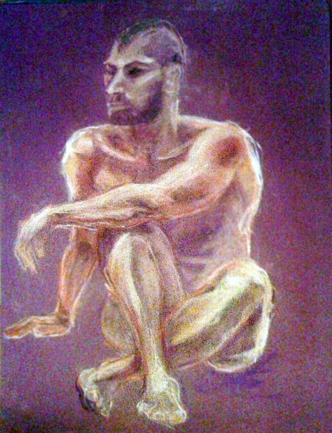 Figura maschile. Pastelli su cartoncino (2014)