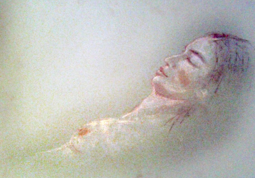 La bella addormentata. Matite e pastelli su cartoncino (2014)