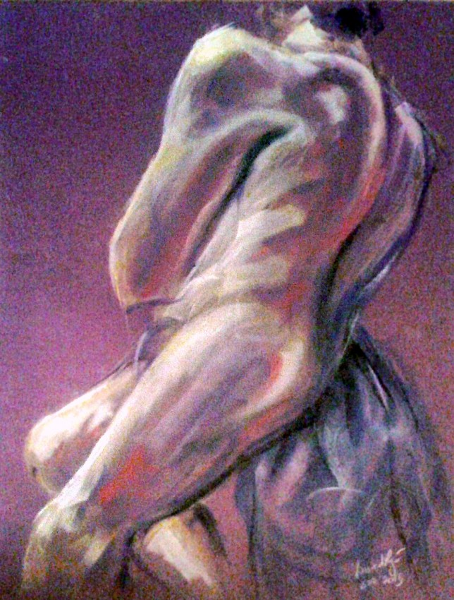 Nudo maschile. Pan pastel colors su cartoncino (2015)