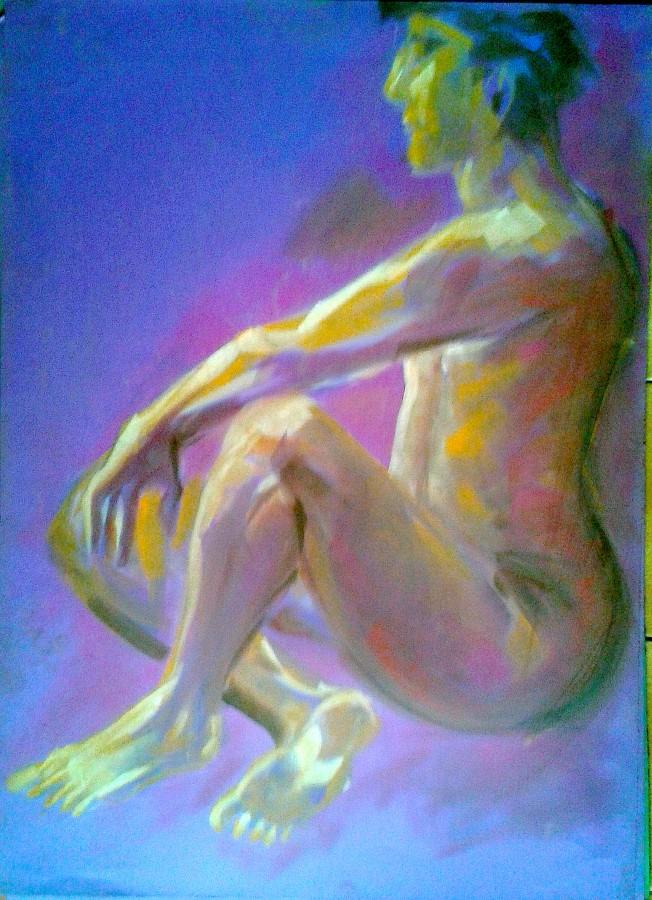 Nudo di profilo seduto. Pastello e Pan pastel colors su cartoncino (2015)