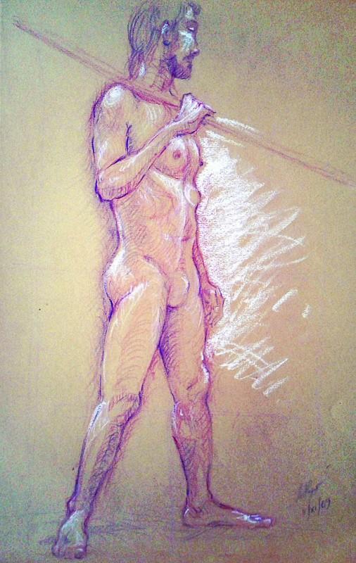 Nudo eretto. Pastello (2009)