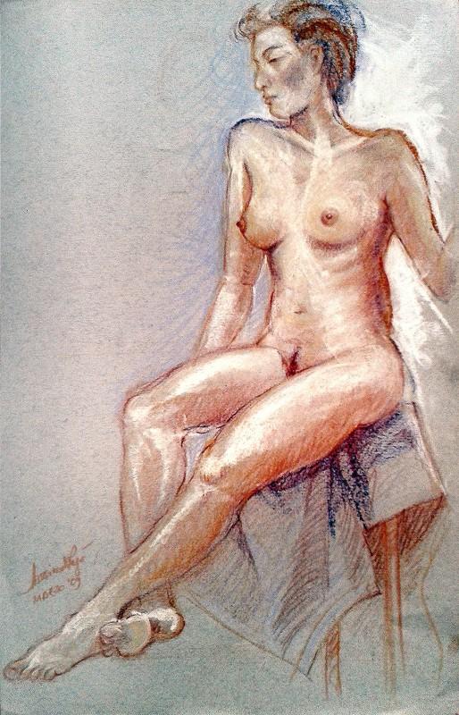 Modella seduta. Pastello (2009)