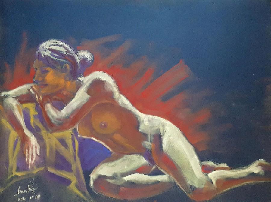 Clelia. Conté crayon e colori PanPastel, 70×50 su cartone (2020)