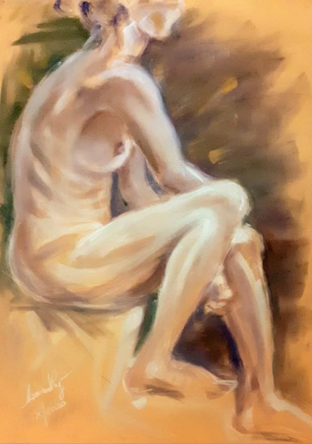 Clelia, profilo. Pan pastel su cartoncino (2020)