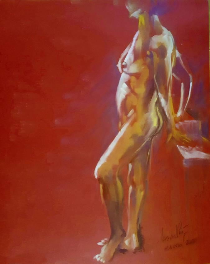 Clelia, modella nuda in piedi. Pan pastel su cartoncino (2021)