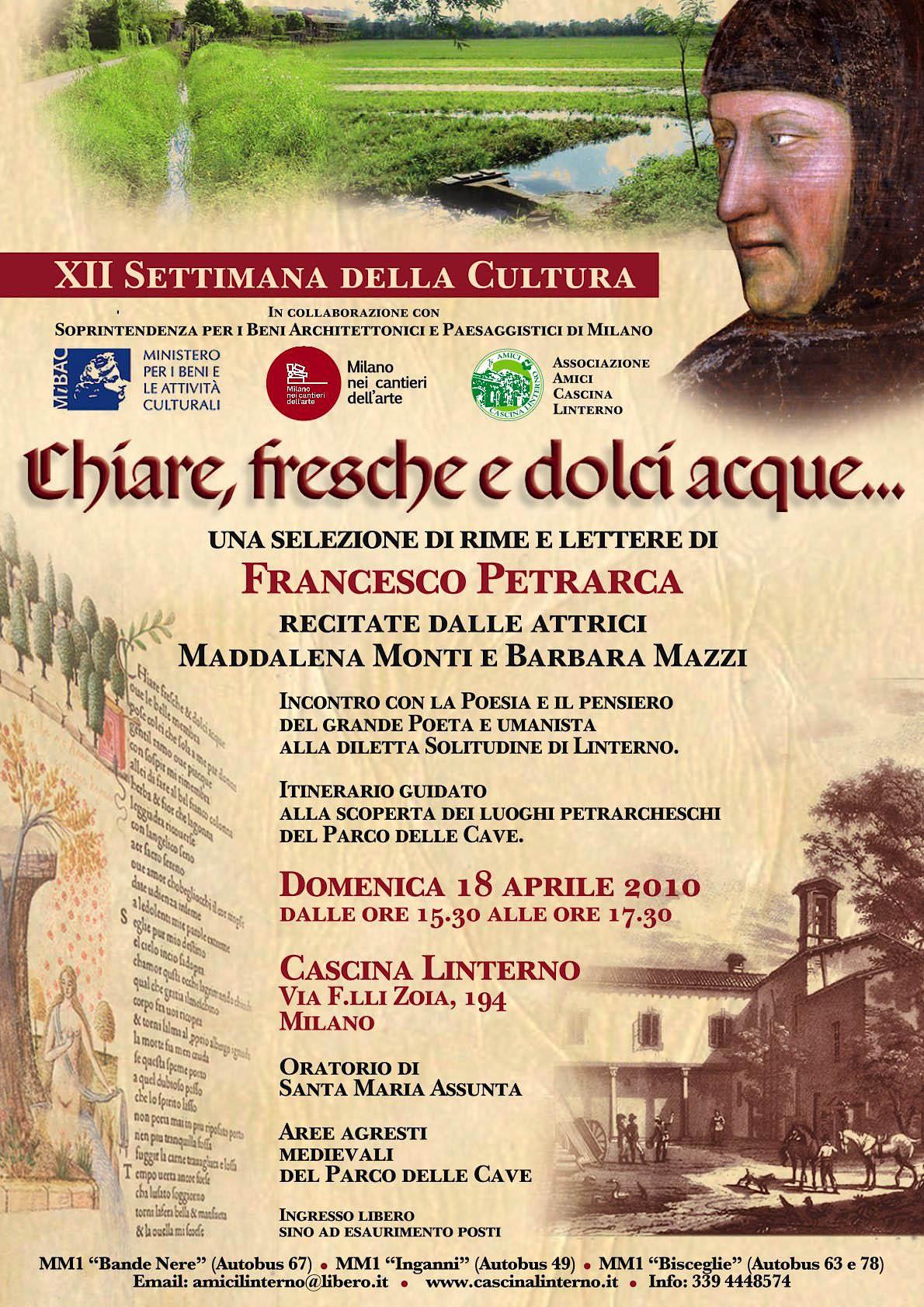 Settimana della Cultura: 'Chiare, fresche e dolci acque...' Locandina (2010)