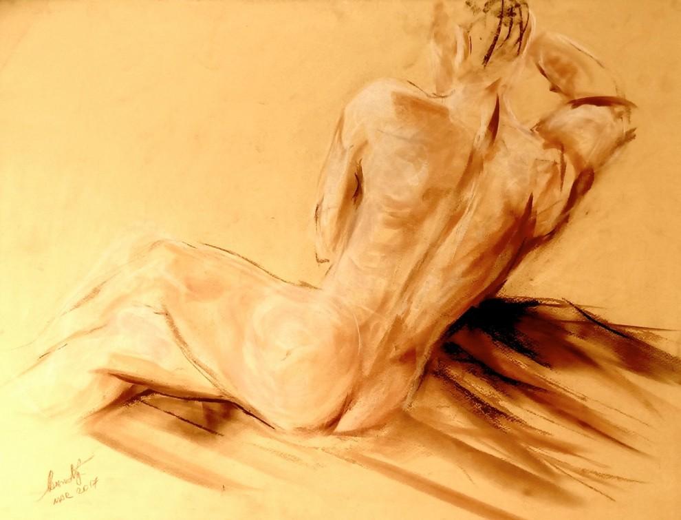 Nudo maschile. Pan pastel colors su cartoncino (2017)