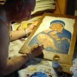 Realizzazione di un'icona su legno e cemento ispirata ad originale russo del XII sec. (2011)
