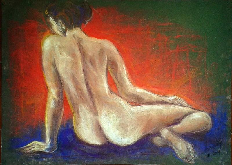 Studio figura femminile. Conté crayon (2014)