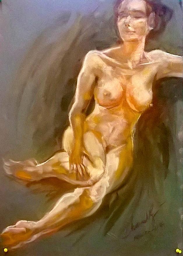 Nudo frontale. Pan pastel colors su cartoncino (2016)