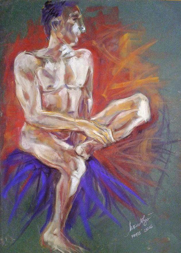 Studio nudo seduto. Pan pastel colors su cartoncino (2016)