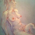 Nudo femminile sfumato. Matite e pastelli su cartoncino (2014)