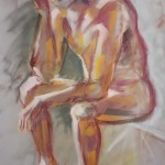 Paolo, nudo con mascherina. Pan pastel su cartoncino (2020)
