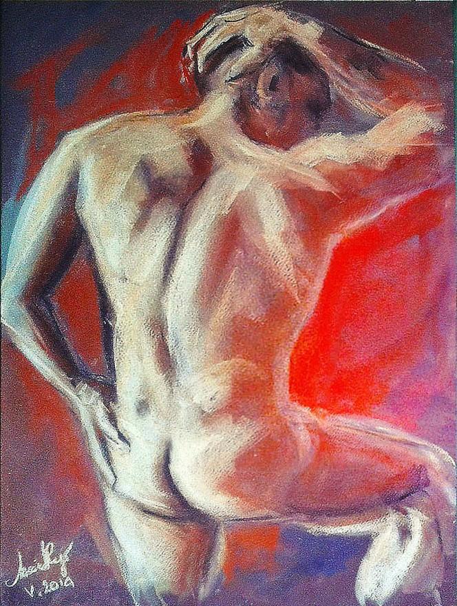 Vivere è lotta e tormento. Pastello e Pan pastel colors su cartoncino (2015)