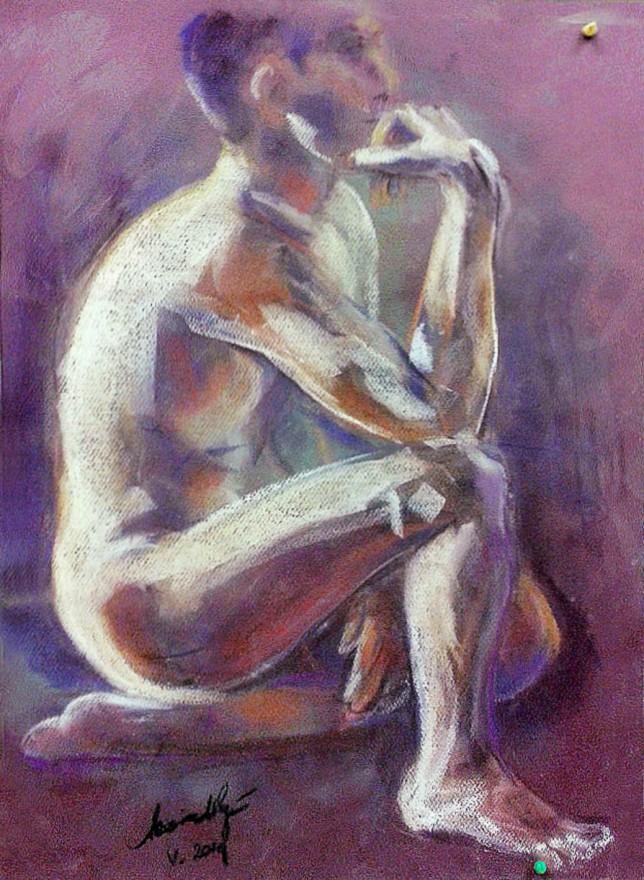 Nudo maschile di profilo. Pan pastel colors su cartoncino (2015)
