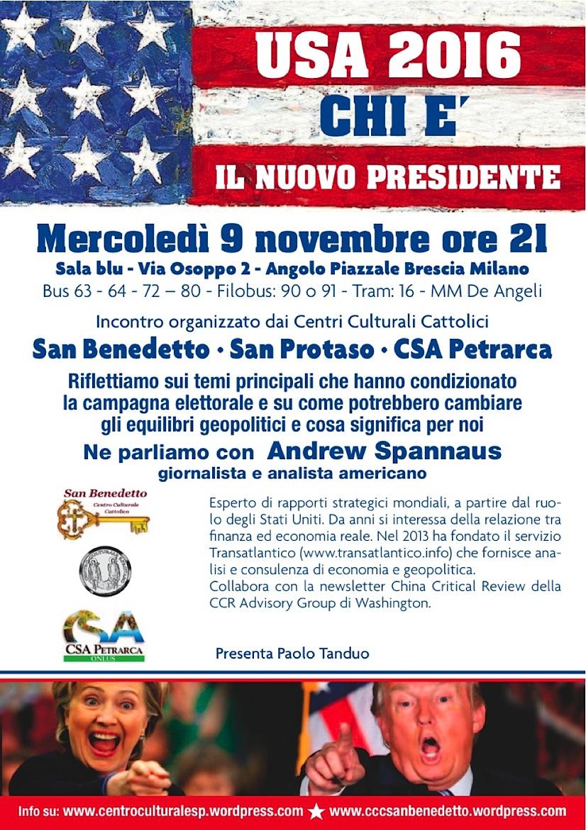 Poster conferenza elezioni USA (2016)