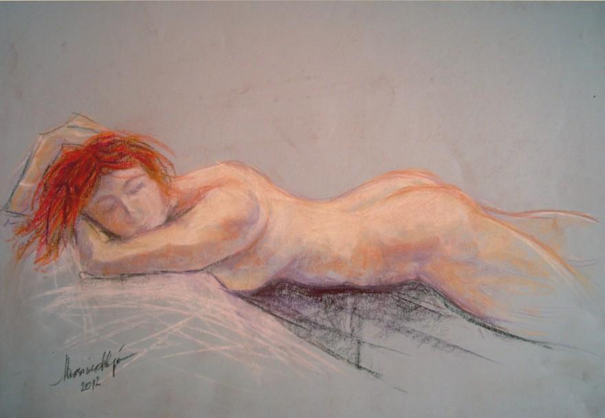 Raffaella, modella. Conté crayon su cartoncino (2012)