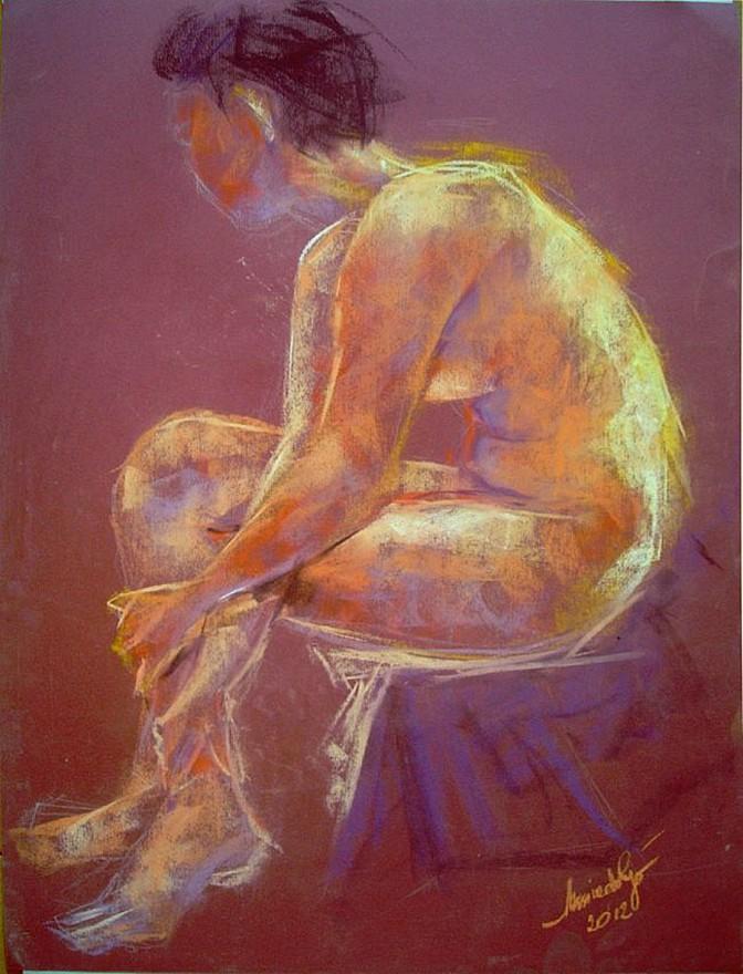 Sara, evoluzione della forma. Conté crayon su cartoncino (2012)