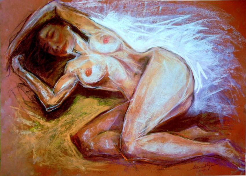 Modella scorciata. Conté crayon su cartoncino (2012)