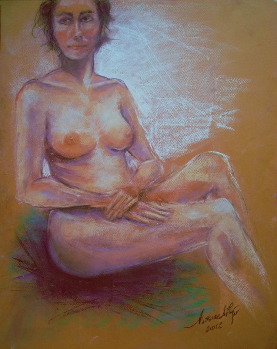 Modella seduta. Conté crayon su cartoncino (2012)