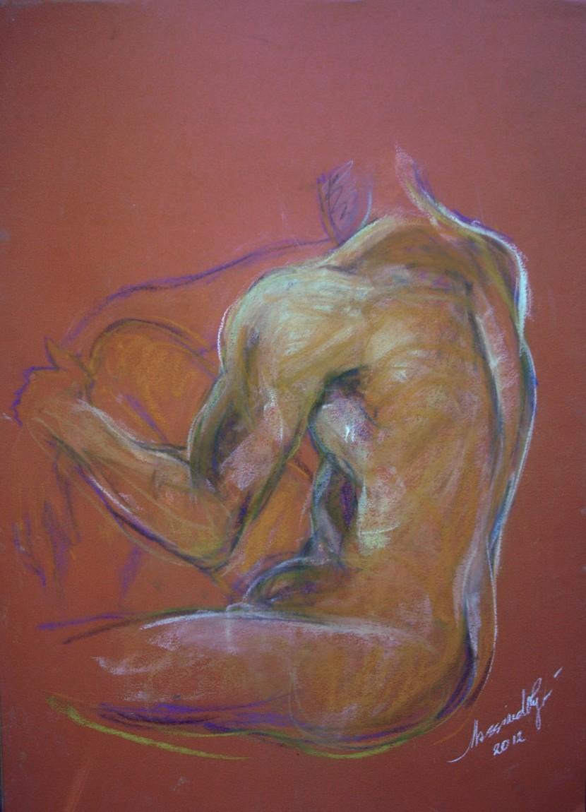 Studio di nudo maschile. Conté crayon su cartoncino (2012)