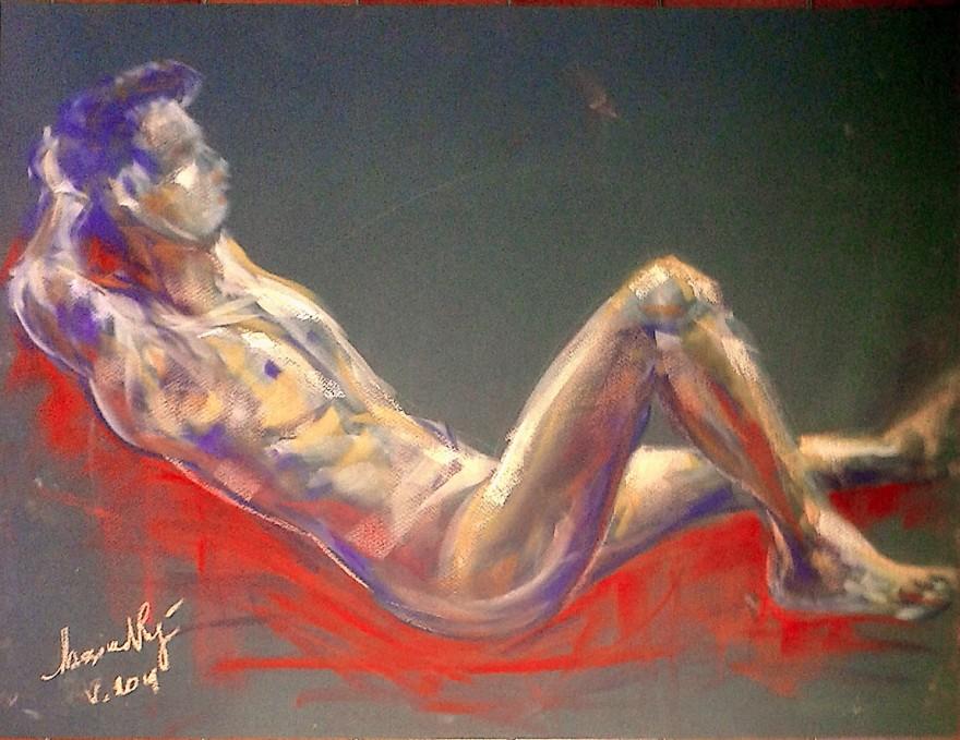 Paolo, modello. Pan pastel colors su cartoncino (2016)