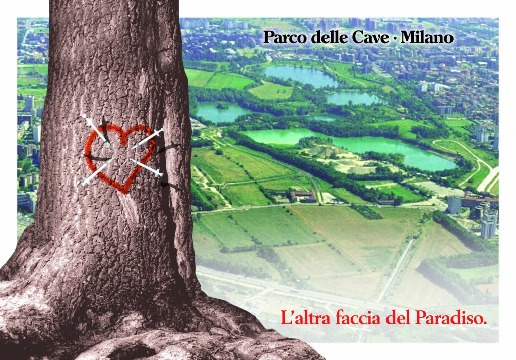 Cartolina contro lo spaccio di droga nel Parco delle Cave (1999)