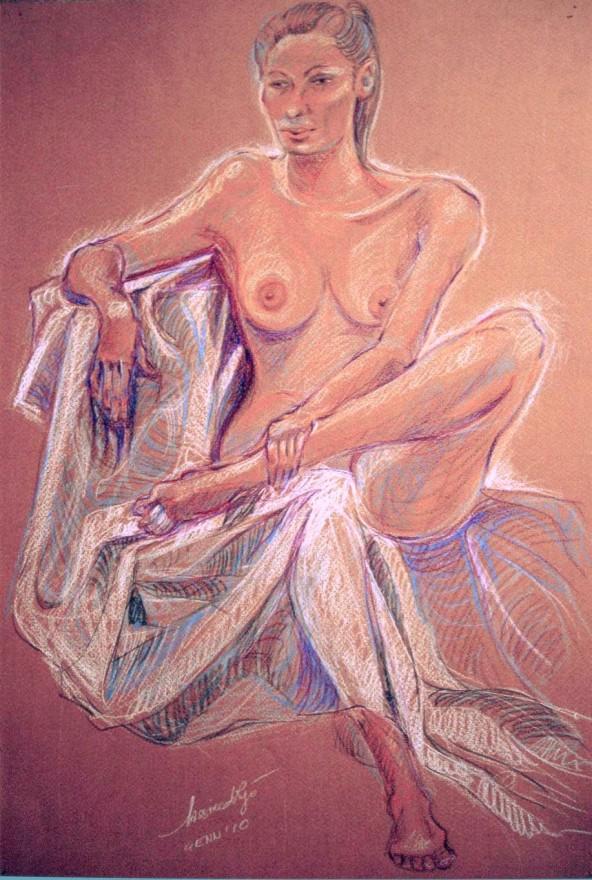 Studio modella con drappeggio. Pastelli su cartoncino (2010)