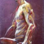 Figura maschile. Pan pastel colors su cartoncino (2017)
