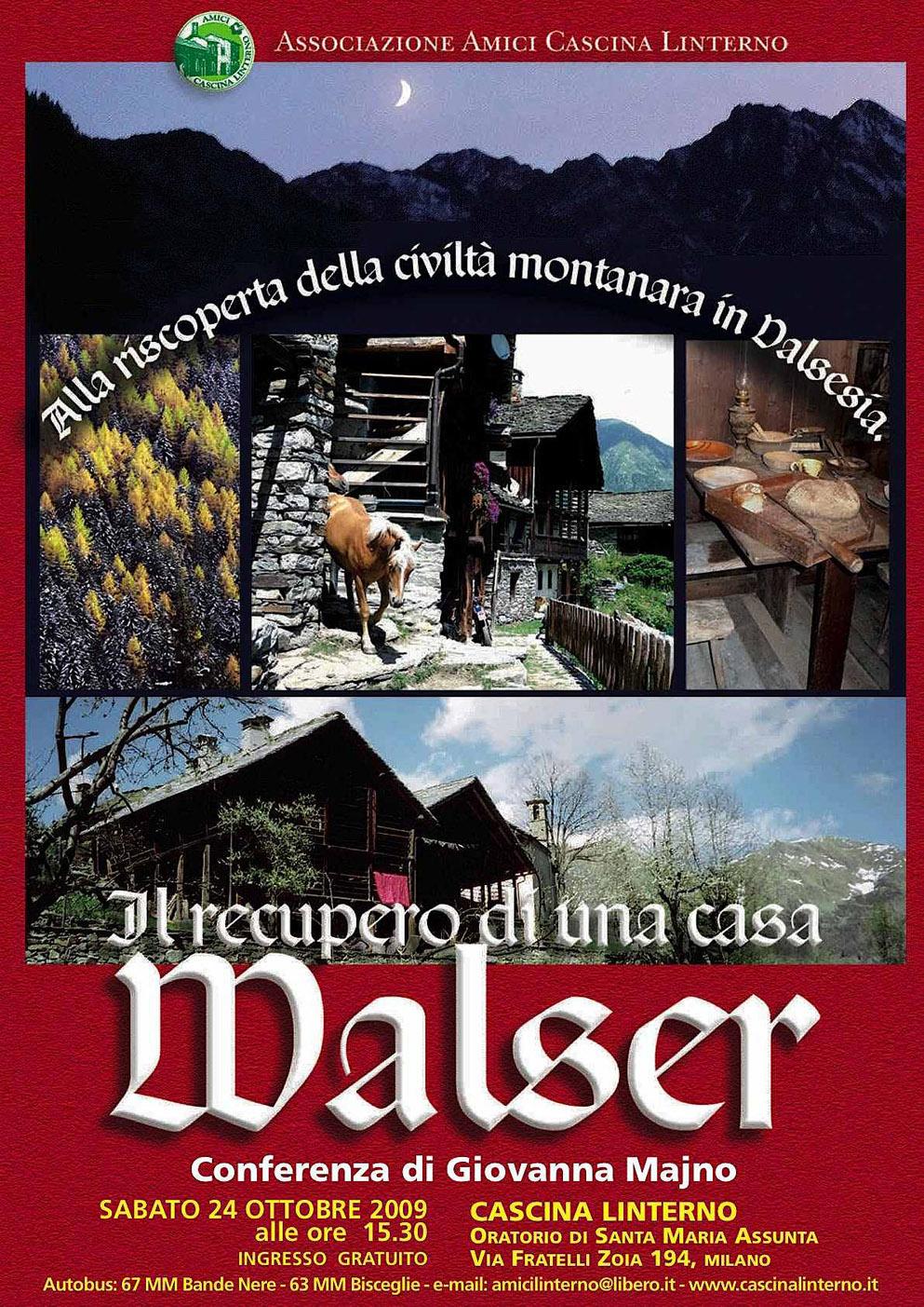 Conferenza 'Il recupero di una casa Walser'. Locandina (2009)