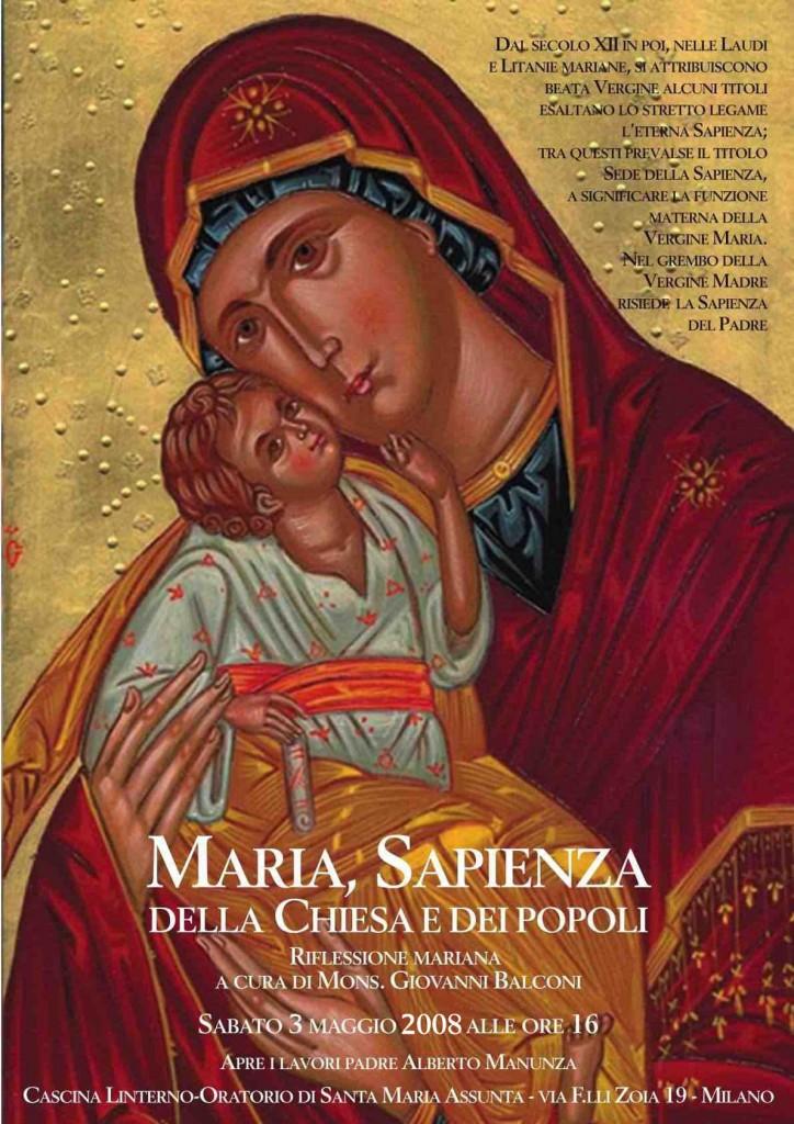 Conferenza 'Maria, sapienza della Chiesa e dei popoli'. locandina (2008)