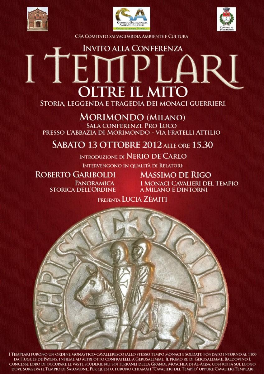 locandina I Templari oltre il mito. Abbazia di Morimondo (2012)