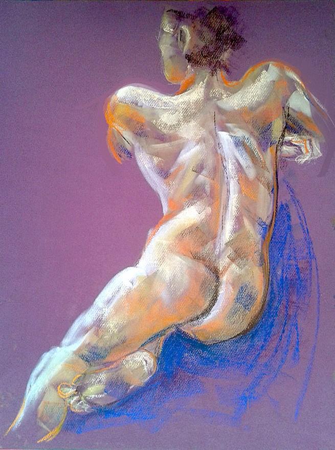 Nudo di spalle. Pan pastel colors su cartoncino (2017)