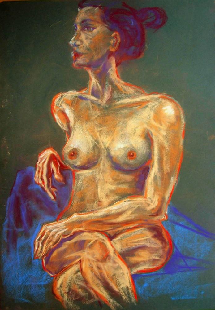 nudo femminile seduto. Pastello (2011)