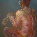 Nudo maschile di spalle. Conté crayon su cartoncino (2012)
