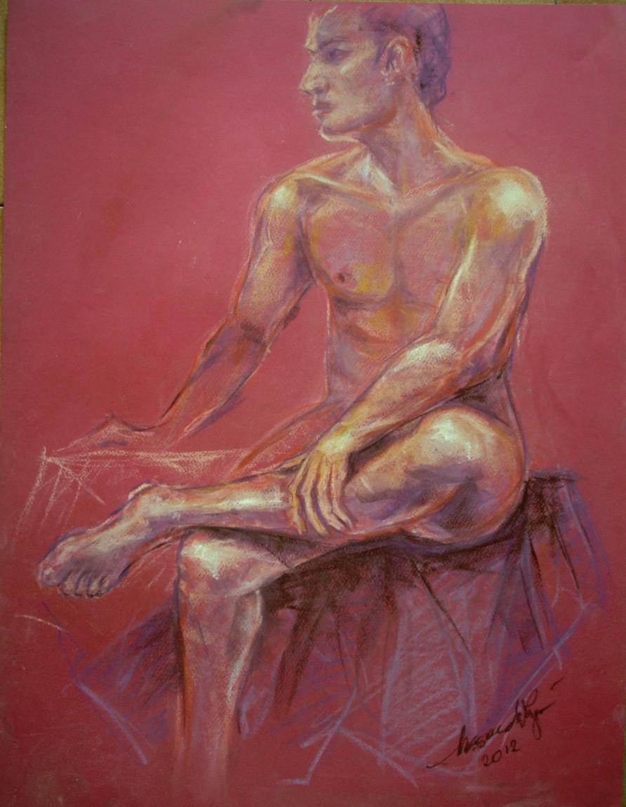 Nudo maschile seduto. Conté crayon su cartoncino (2012)