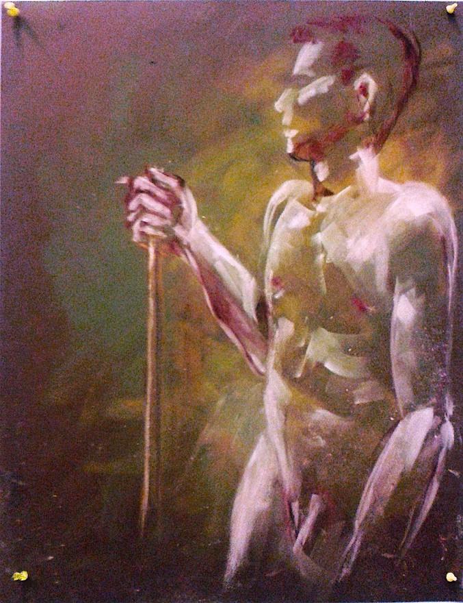 Nudo maschile eretto. Pan pastel colors su cartoncino (2017)